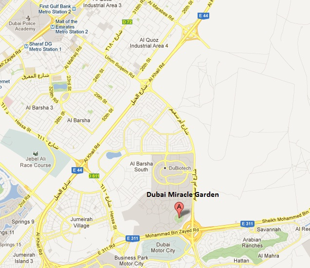 Detail Location Map of Dubai Miracle Garden for Travelers,Dubai Miracle Garden Location Map,Dubai Miracle Garden Accommodation Hotels Maps