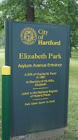 The Welcome sign - Elizabeth Park, West Hartford, CT