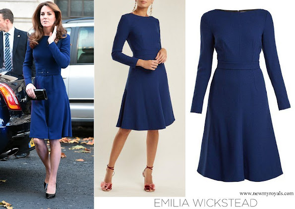 Kate Middleton wore EMILIA WICKSTEAD Kate A-Line Wool Crepe Dress in Navy Blue