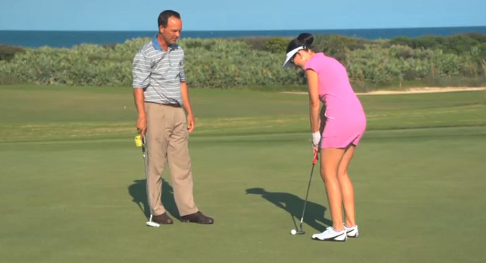 Amy West practices her putting on the Ocean Course at Hammock Beach Resort
