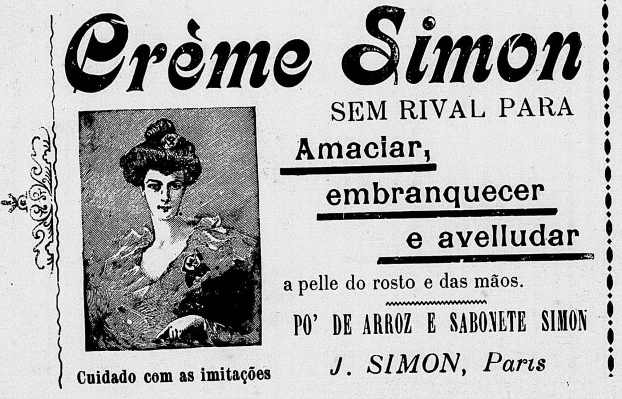 Anúncio antigo do Creme Simon para cuidados com a pele veiculado em 1907