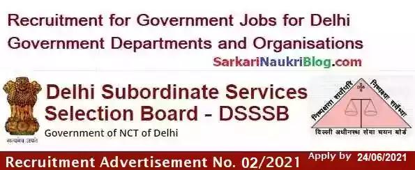 DSSSB Delhi Teacher Vacancy Recruitment 02/2021
