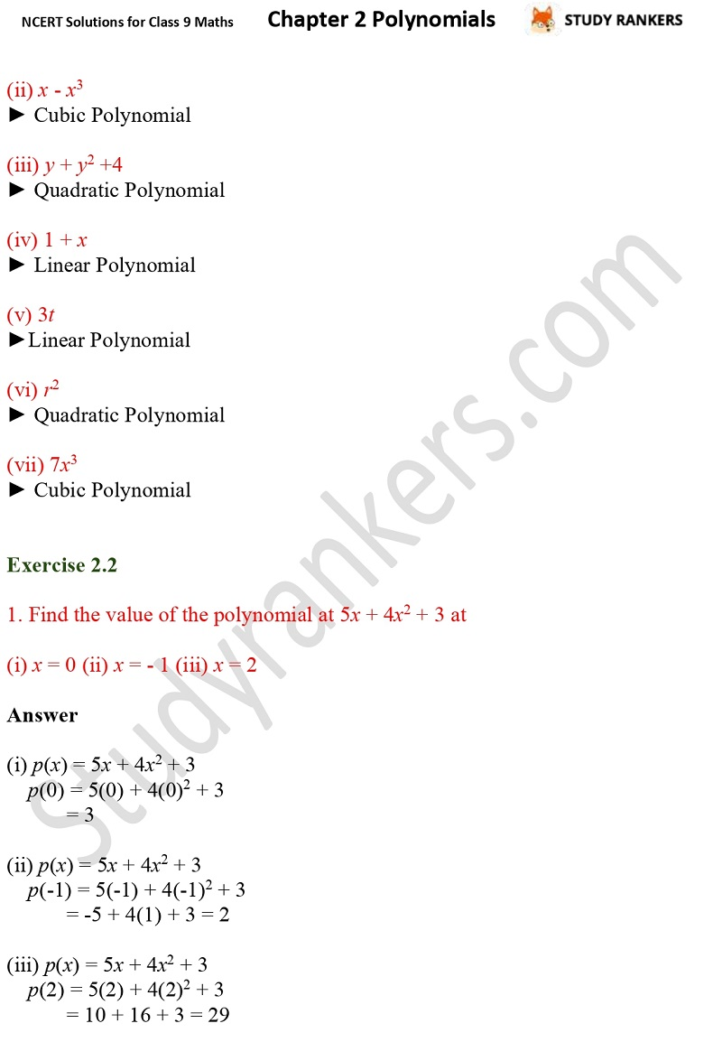 NCERT Solutions for Class 9 Maths Chapter 2 Polynomials Part 3