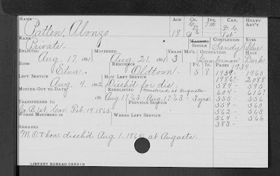 File card with handwritten record of Alonzo Patten reenlistment
