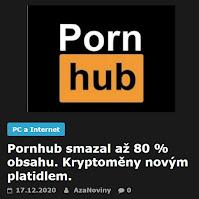 Pornhub smazal až 80 % obsahu. Kryptoměny novým platidlem. - AzaNoviny
