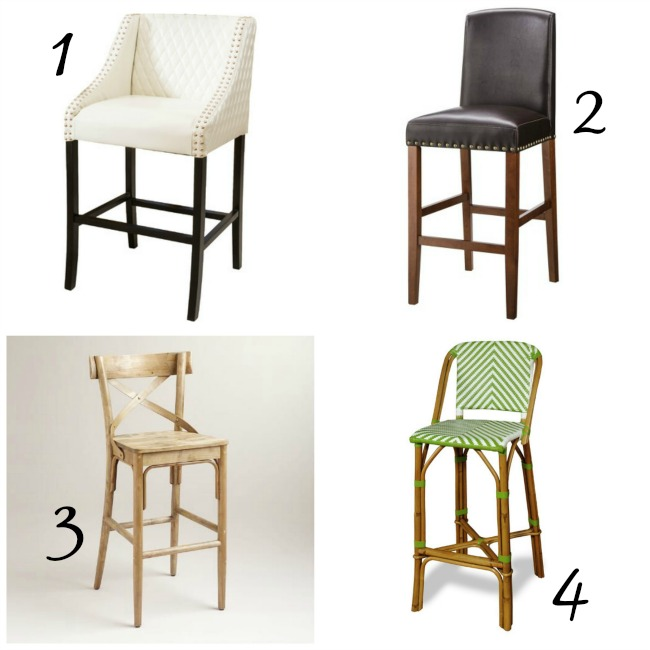 wipable barstools, faux leather barstool, french bistro barstool