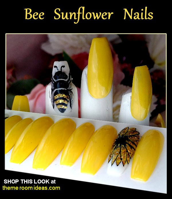 Bee Sunflower accent nail Press on nails  Queen Bee Yellow nails  Buzzy Bee