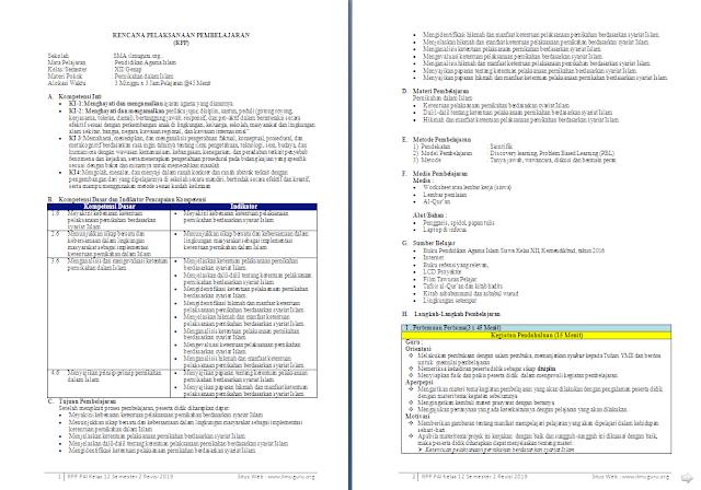 RPP 1 Lembar PAI dan Budi Pekerti Kelas 12 SMA/MA Semester 2