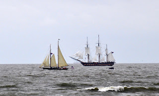 Two american tall ships under sail