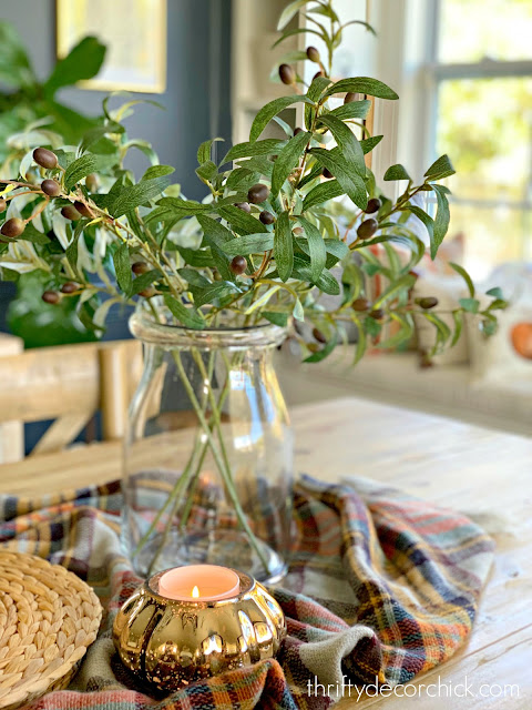 Olive stems in fall centerpiece