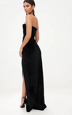 Black Velvet Drapped Wrap bandeau maxi dress back side