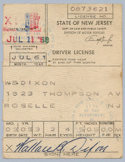 1958 NJ Driver's License issued to W.B. Dixon.