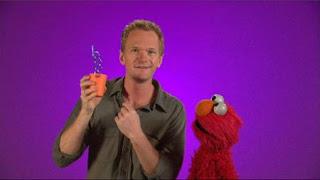 celebrity, Neil Patrick Harris, Elmo, the Word on the Street curly, Sesame Street Episode 4413 Big Bird's Nest Sale season 44