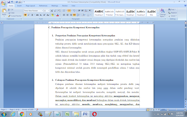 Panduan penilaian kompetensi keterampilan kurikulum 2013