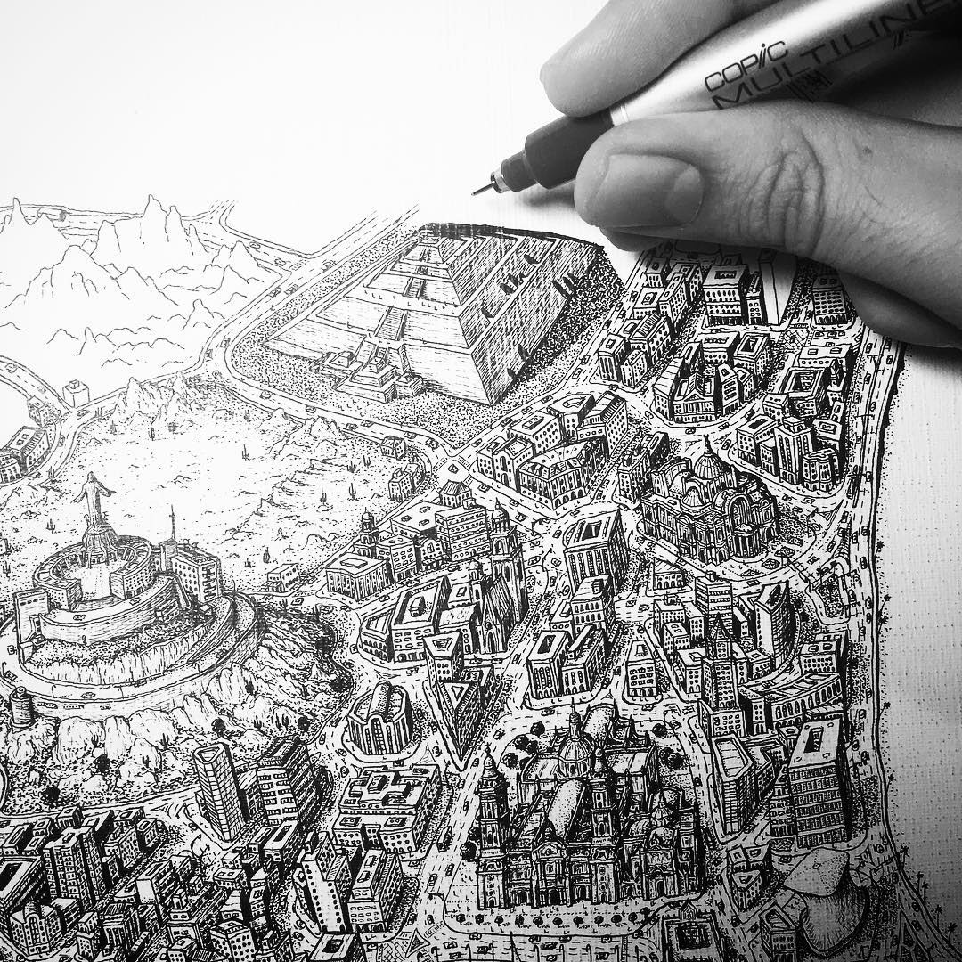 11-Pyramid-of-the-Sun-in-Mexico-Jeff-Murray-Detailed-Miniature-Real-and-Imaginary-Urban-Drawings-www-designstack-co