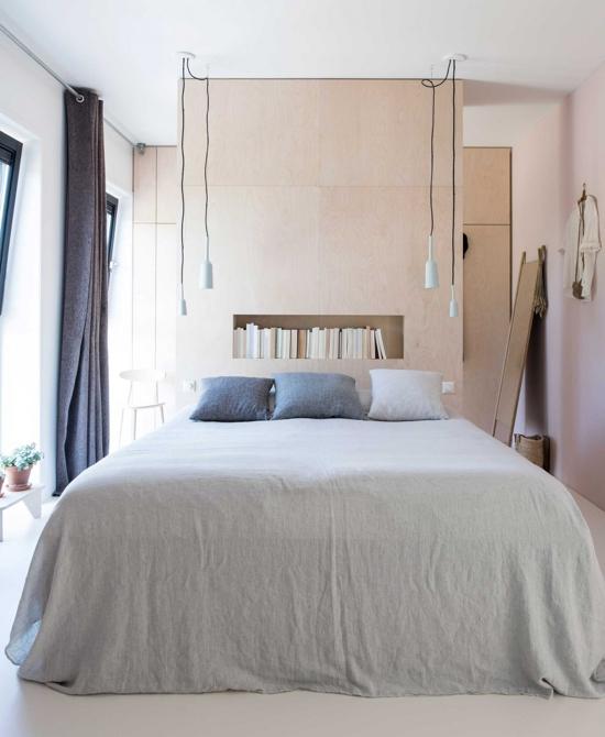 dormitorio con textiles de algodon rustico