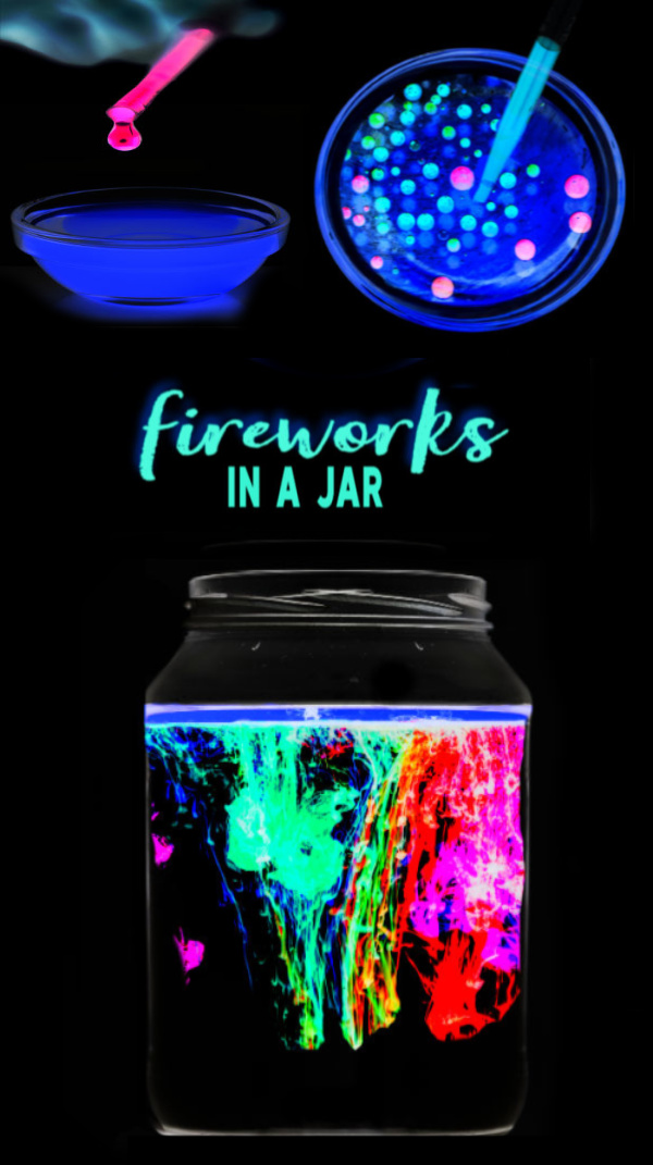 Glowing fireworks in a jar science experiment for kids.  This activity is great for the 4th of July!  #fireworksinajar #fireworksinabottle #fireworkscraft #scienceexperimentskids #scienceforkids #sciencefairprojectsforelementary #sciencefairprojects #growingajeweledrose