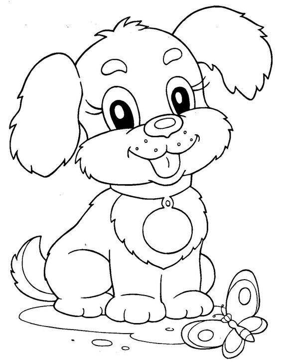 Tranh tô màu con chó xinh
