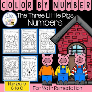 Color By Number For Math Remediation Numbers 6 to 10 With a Cute Three Little Pigs Theme From Fern Smith's Classroom Ideas at TpT.