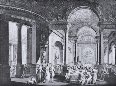 Inside view of the supper room and part of the ballroom in a  pavilion erected for a Fête Champêtre in the garden of the Earl of Derby  at The Oaks, in Surrey, on June 9th, 1774 - Robert Adam, Architect -in  The Works in Architecture of Robert and James Adam by R&A Adam (1773)