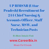 UP RIMSNR (Uttar Pradesh) Recruitment for 244 Chief Nursing & Accounts Officer, Staff Nurse, MSW, and Technician Posts