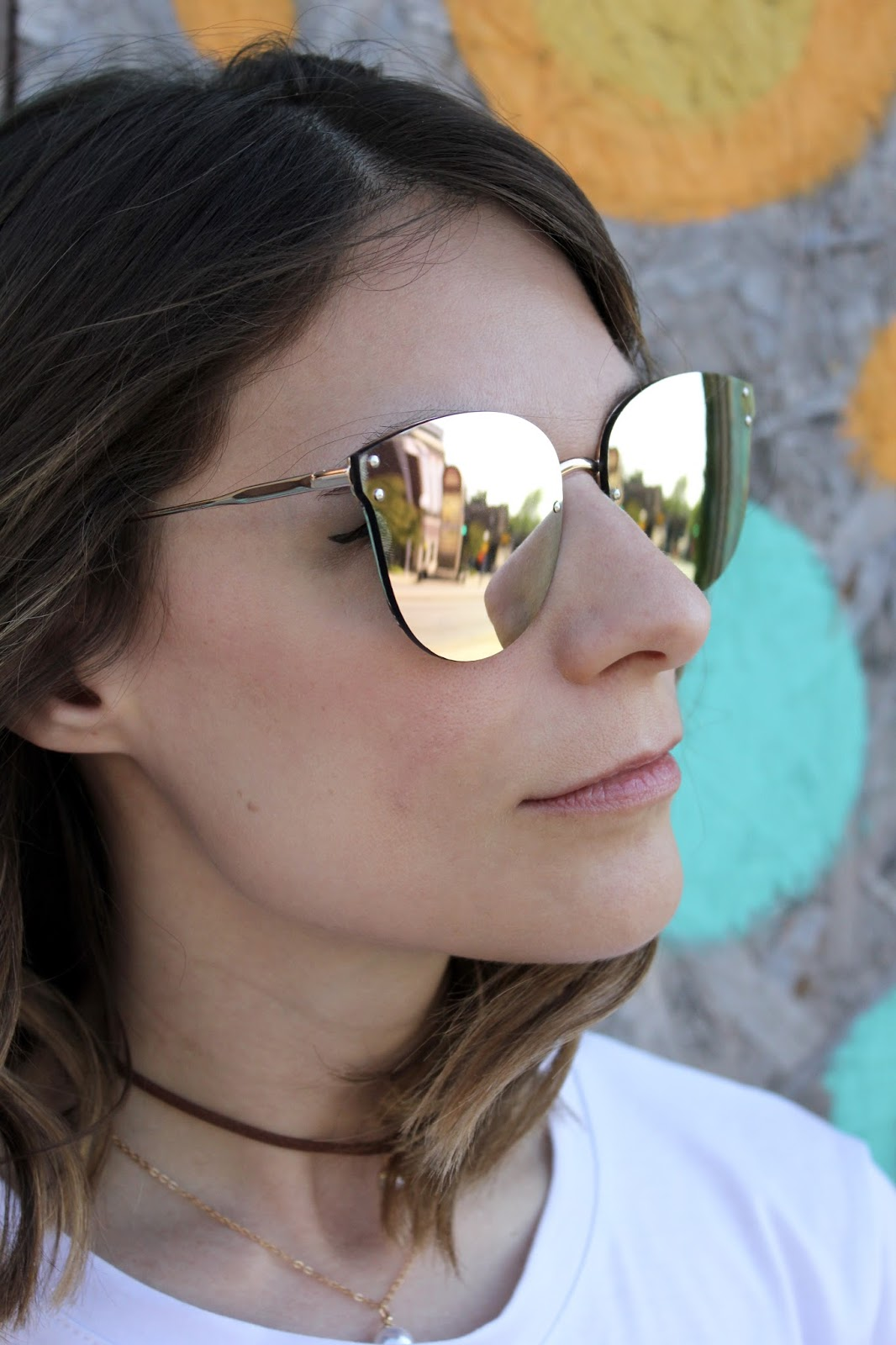Zaful Pink Frameless Mirrored Sunglasses
