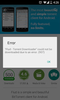 Screenshot of Google Play showing Error (907) while downloading an app