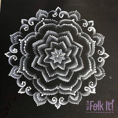 Mandala handpainted by Carol Sykes from You Can Folk It using folk art techniques