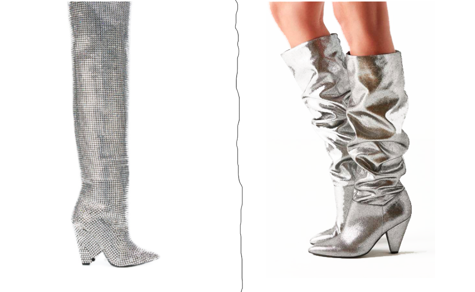 AW17 Footwear Trend Silver Slouchy Boots