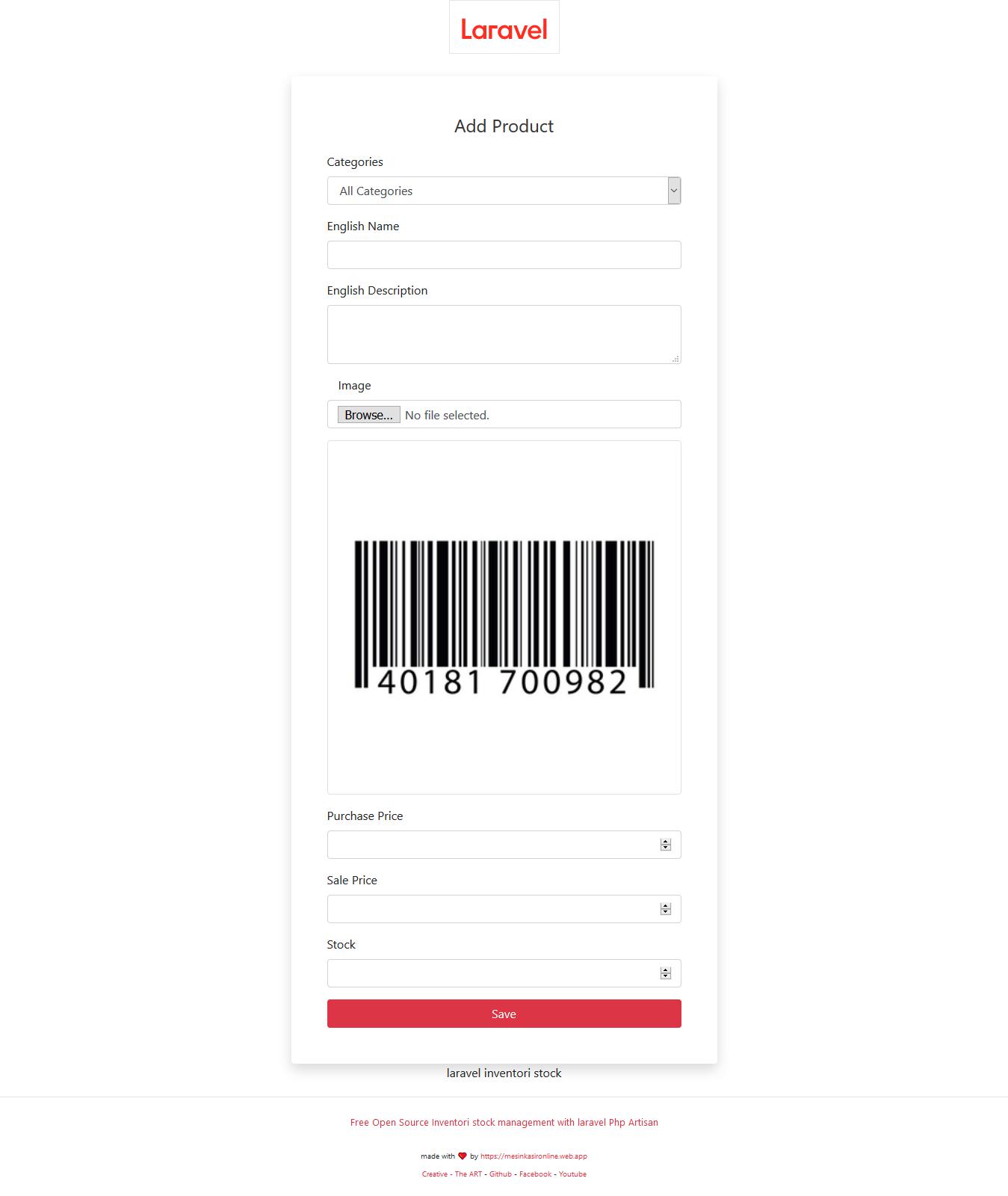 Free download open source code gratis laravel stock apps inventori management