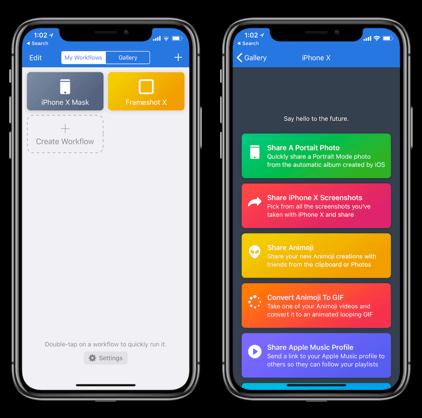 تطبيق Workflow,iphone x