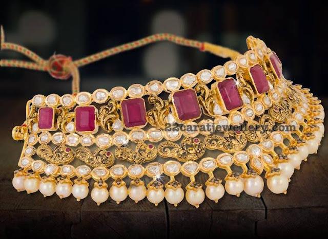 Peacock Ruby Choker by Krishna Jewellers