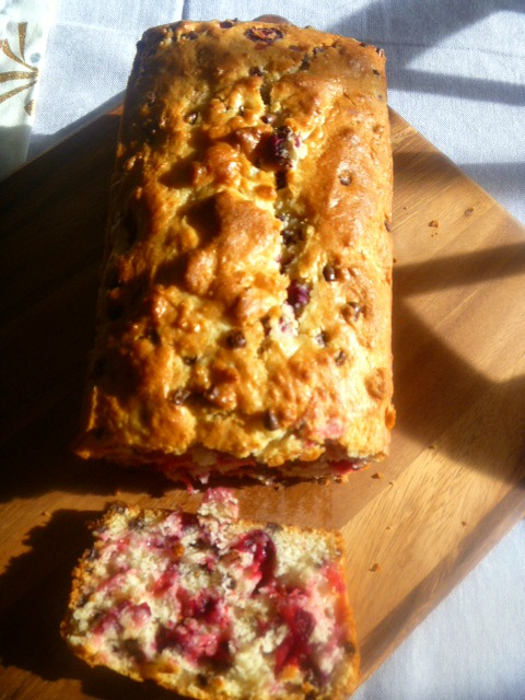 Cranberry Chocolate Chip Bread:  Hot from the oven, and bursting with tart cranberries, and melted decadent chocolate this bread is a wonderful breakfast treat. - Slice of Southern