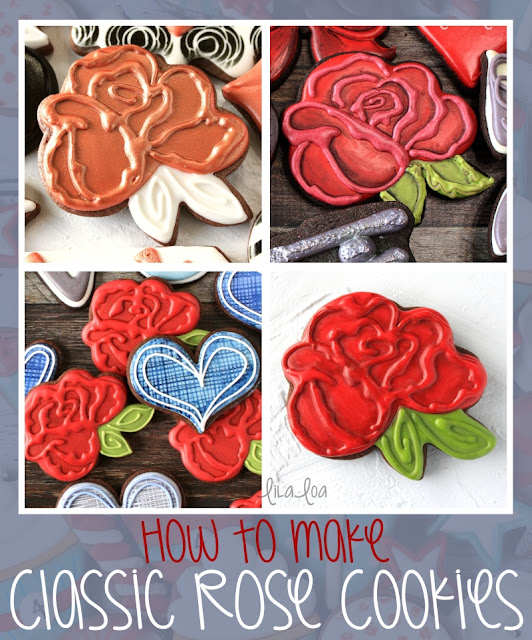 Decorated Rose sugar cookies