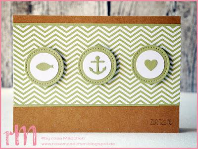 Stampin' Up! rosa Mädchen Kulmbach: Taufkarten Glaube Hoffnung Liebe mit Framelits Stickmuster, Clearlits Glückswal, Kreisstanze, Eins für alles und Designerpapier