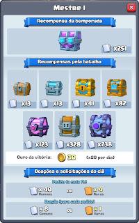 Liga Mestre 1 Clash Royale - Recompensas e Baús