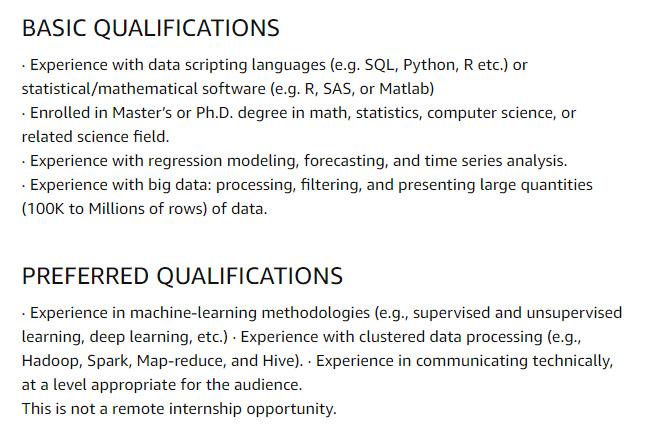 Amazon Internship Jobs for Data Science Internship