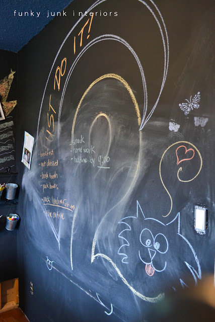 chalkboard wall teen boy's bedroom makeover 2012 at Funky Junk Interiors