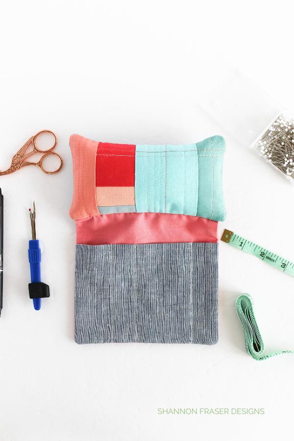 Sew Organized Pin Cushion   January Aurifil Artisan Challenge   Shannon Fraser Designs #pincushion #sewingnotions #diy #modernimprov #scrapbuster