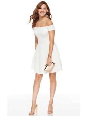 Jersy Alyce Paris Gradution Short Dress Diamond White color