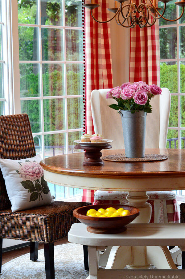 Cottage Kitchen Dining Area with roses on table and on pillow