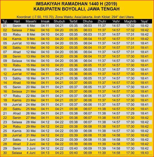 Jadwal Sholat dan Imsakiyah Boyolali-Ramadhan 2019-Waktu Maghrib, Waktu Imsak, dan Waktu Shubuh di Wilayah Kabupaten Boyolali dan Sekitarnya-Bulan Puasa 2019-1440 Hijriyah.