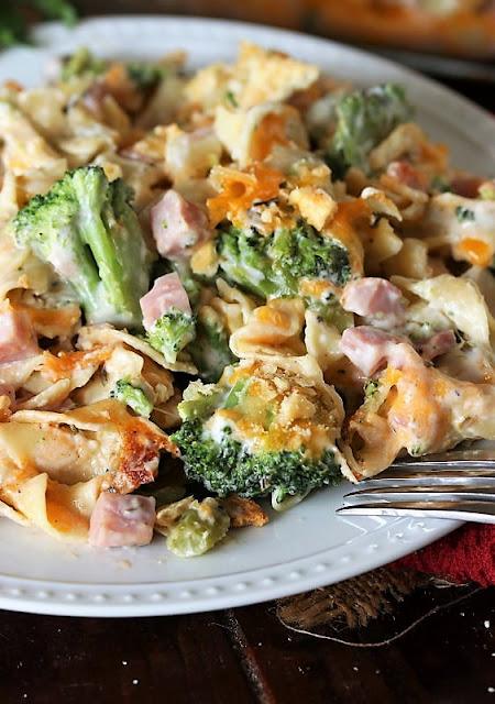 Plate of Cheesy Ham & Broccoli Casserole Image