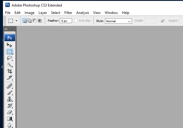 Tampilan Awal Aplikasi Adobe Photoshop CS3