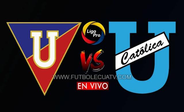 Liga de Quito y Universidad Católica se enfrentan en vivo a partir de las 17h00 continuando por la fecha 6 de la Liga Pro, siendo transmitido por canal GolTV Ecuador, a jugarse en el Estadio Rodrigo Paz Delgado con arbitraje principal de Alex Cajas.