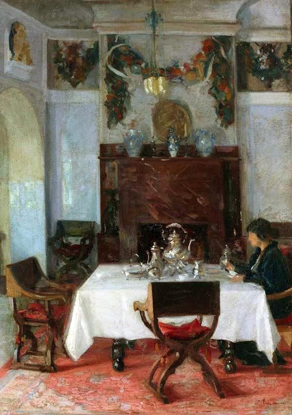 María en el comedor, Francisco Pons Arnau, Pintor español, Pintor Valenciano, Pintura Valenciana, Impresionismo Valenciano, Pintor Pons Arnau