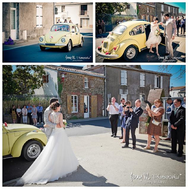 photo arrivée des mariés à la mairie