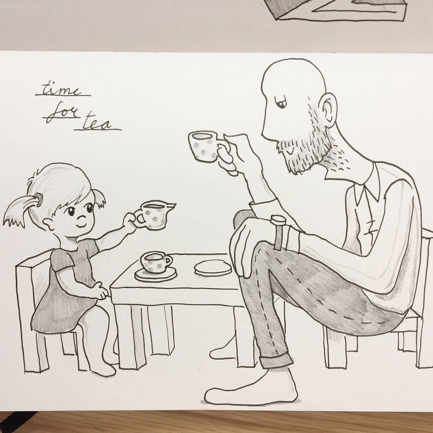 Guy Has Been Drawing A Comic Every Day For His Partner For Five Whole Years - Most Days When I Get Home From Work Poppy Wants To Play Tea Parties With Me.
