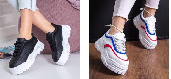 Adidasi fete moderni 2019 cu talpa groasa albi, negri la moda
