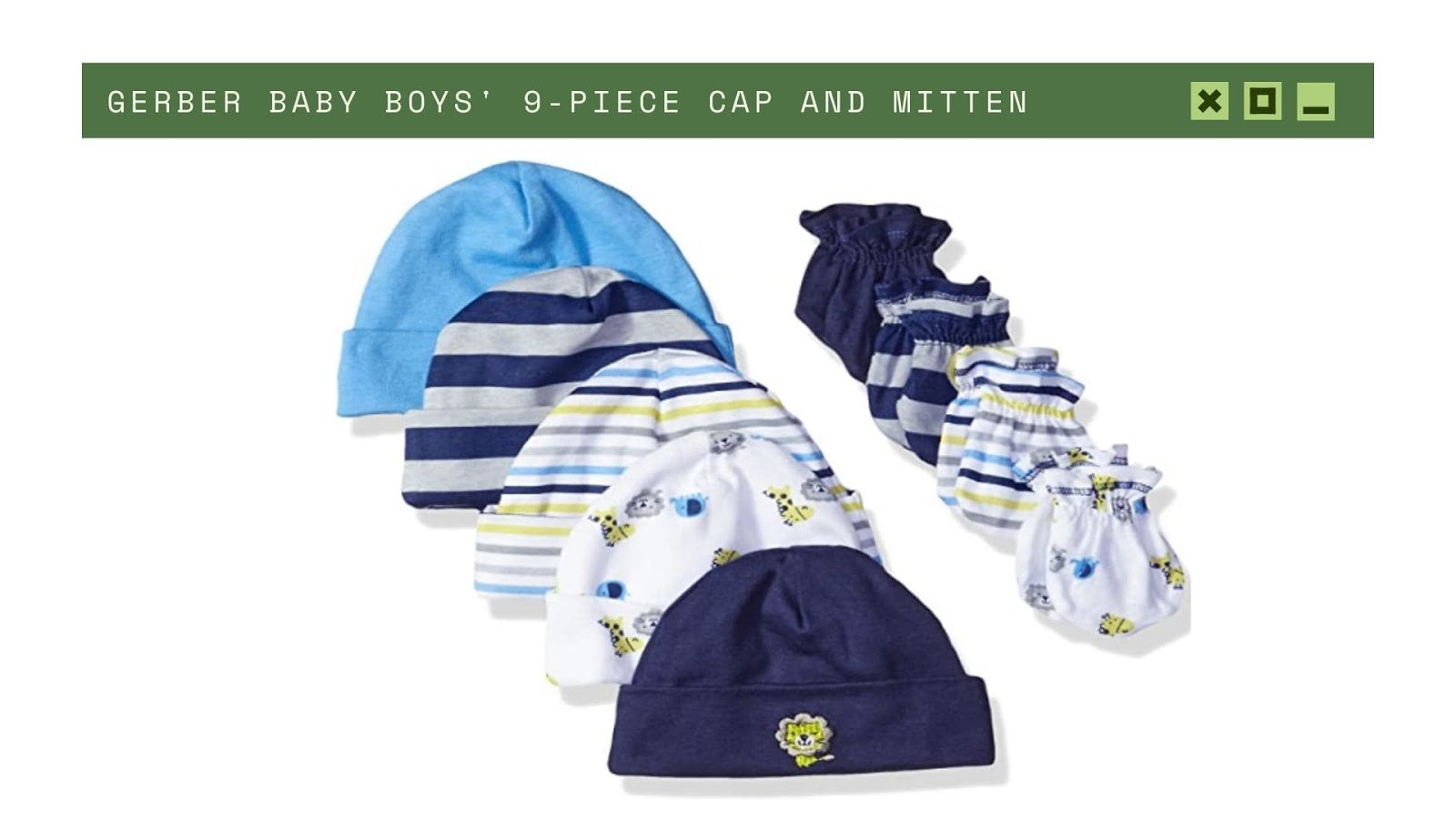 Shopping for newborn baby boy GERBER cap and mitten